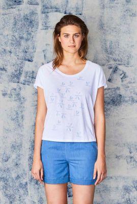 wit t-shirt met libelle print libelli 36150