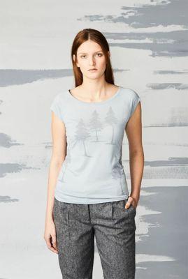 licht grijs t-shirt met bomen print fall forest 38280