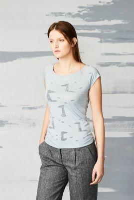 licht grijs t-shirt met vossen print fox field 38320