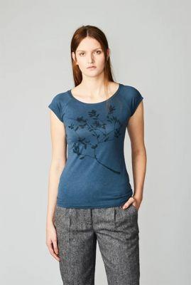 blauw t-shirt met bloem print winter berry 38361