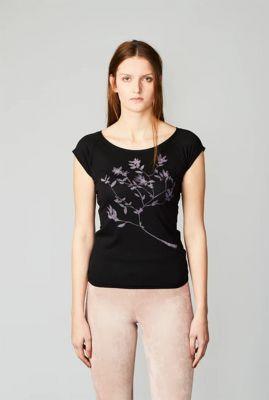 zwart t-shirt met bloem print winter berry 38363