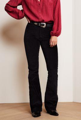zachte rib broek met flared pijpen eva corduroy flare trouser