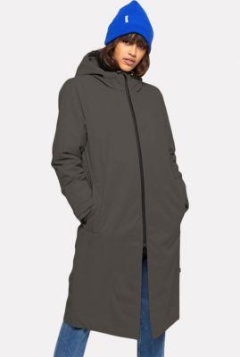 lange parka jas met capuchon en rits sluiting parka zip coat 77152