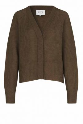 donkergroen vest met v-halslijn brooky knit boxy cardigan