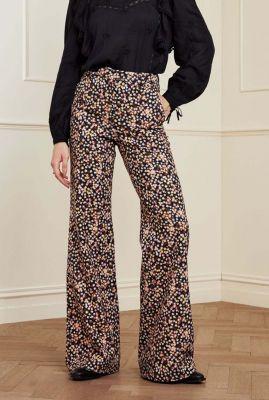 zwarte flared broek met high waist en bloemen print puck trousers