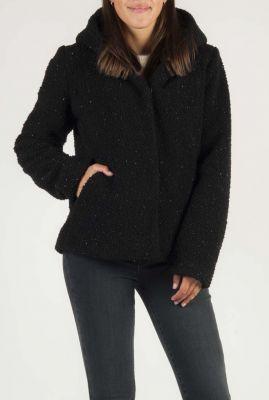 zwarte korte teddy jas met capuchon 6506190