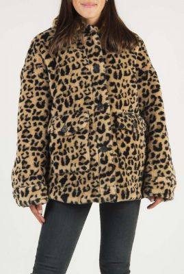 korte fake fur jas met luipaard dessin en klepzakken 6507102