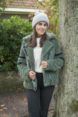 korte groene teddy jas met contrasterende strepen 6512130