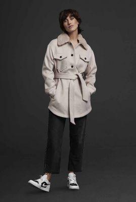 beige wolmix jas met ceintuur en afneembare kraag 6618319