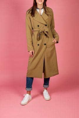 lange trenchcoat jas met getailleerde pasvorm en ceintuur 6607942