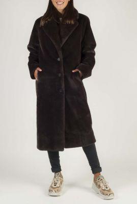 donker bruine lange faux fur jas 6610106