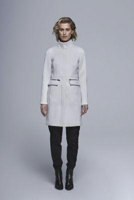 halflange mantel jas met hoge hals en schoudervullingen 6611228