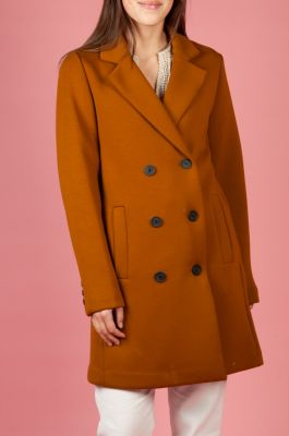 double breasted mantel jas gemaakt van zachte scuba 6611917