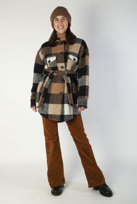 geruite wolmix jas met ceintuur en kraag 6633351