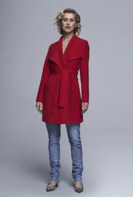 half lange mantel jas met grote revers kraag en ceintuur 6638260
