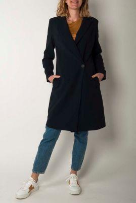donkerblauwe mantel jas met overslag en revers kraag  6638971