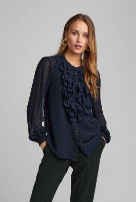 semi-transparante blauwe blouse met volants nubinnie shirt 700040