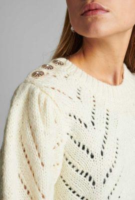 crème kleurige trui met ajour details nubritney pullover 700060