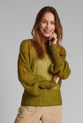 fijn gebreide groene trui met pofmouw 700208 nuchantal