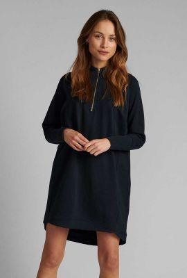 donkerblauwe comfy jurk met rits in kraag 700217 nunikola