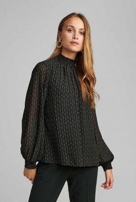 zwarte top met hoge hals en ballon mouwen nucassie blouse 700233