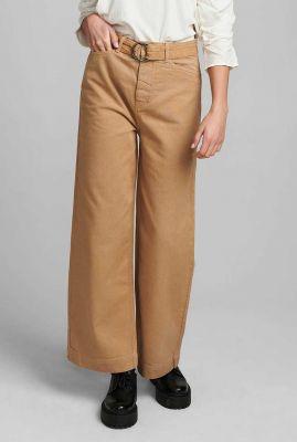 camel kleurige broek met wijde broekspijp 700310 nucassava