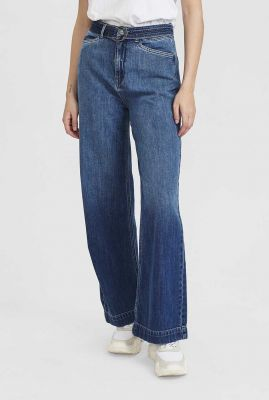 donkere denim jeans met flared pijpen nucarolina pant 700311