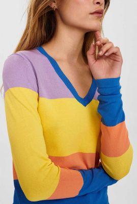 gekleurde trui met ingebreide strepen nucalluna pullover 700358