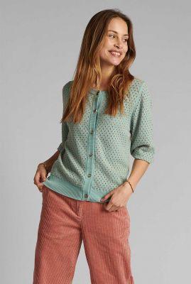 turquoise vest met ingebreid dessin nybrynn cardigan 700401