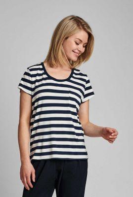 donker blauw gestreept t-shirt nubowie t-shirt noos 700423