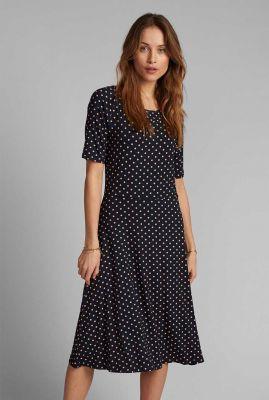 donkerblauwe jurk met perzikkleurige stippen dessin nukora jersey dress 700456