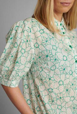witte blouse met grafisch bloemen dessin nugrenoble shirt 700645