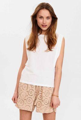 witte mouwloze top nusofia jersey blouse 700652