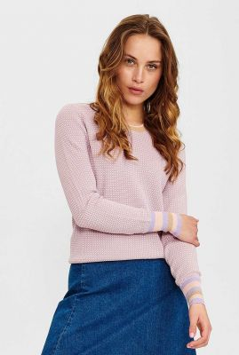roze trui met ingebreid dessin nucelestine ls pullover 700739