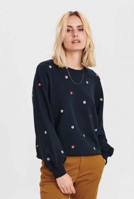 donker blauwe trui met geborduurde bloemen nubrittany 700742