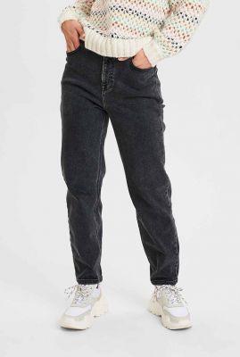donkergrijze mom jeans met high waist nucarbeinna pants 700826