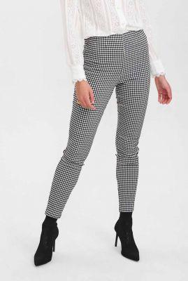 zwart-wit geruite broek met hoge taille nubendie legging 700948