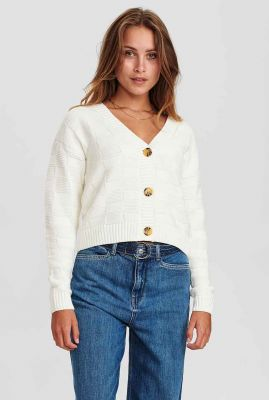 crème kleurig vest met ingebreid blokjes dessin nucariad 700960