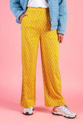 gele broek met grafische print nuailani pant 7220609