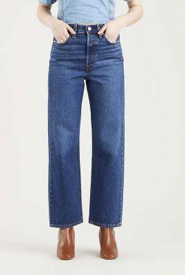 donker blauwe high waist straight jeans 72693-0089