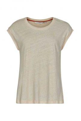 ecru kleurige linnenmix top nubrenna t-shirt 7320344