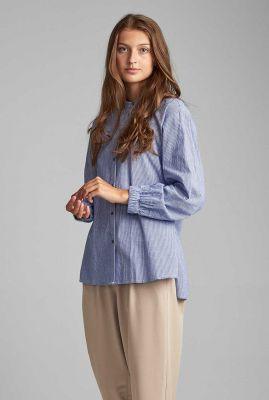 blauwe blouse met fijn ruit dessin 7420009 nubex shirt