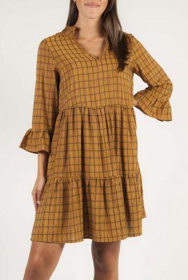 bruin geruite jurk met glans 7420828 nubeula dress