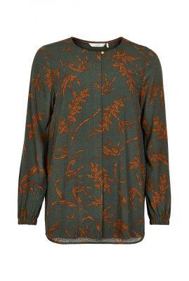 donker groene blouse met botanische print nubloom 7520008