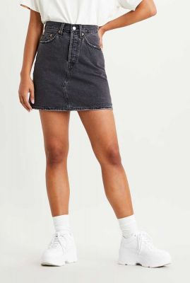 grijze denim mini rok met rafels deconstructed skirt 77882-0018