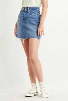 blauwe denim mini rok met rafels deconstructed skirt 77882-0020