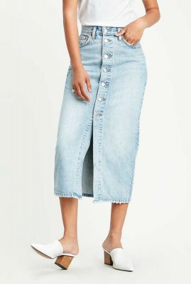 midi lichte denim rok button front skirt 85874-0001