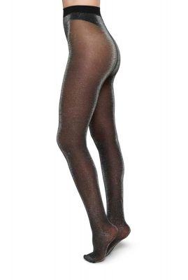 zwarte 20 denier panty met zilveren glinster tora lurex