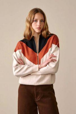 creme kleurige trui met gekleurde vlakken en rits gophy k1008j