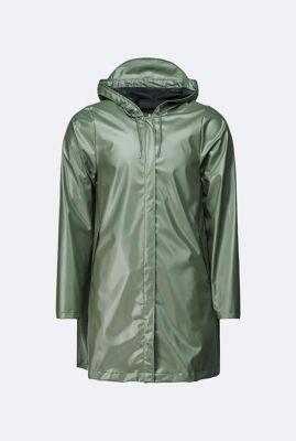glimmende olijf groene regenjas a-line jacket 1834